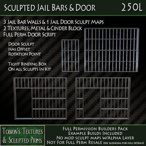Tobrins Sculpted Jail Bars & Door | Things to make | Jail