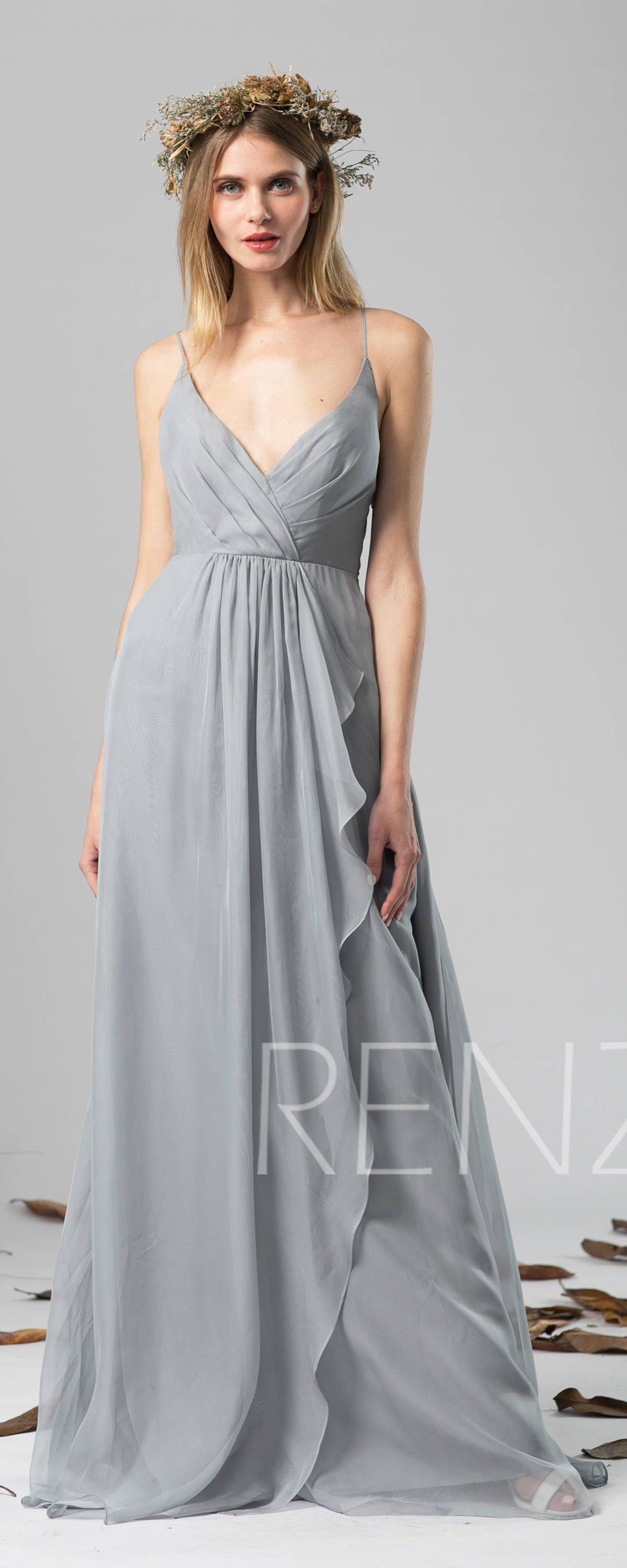 Wedding dresses v neck  Bridesmaid Dress Medium Gray Chiffon Dress Wedding DressV Neck