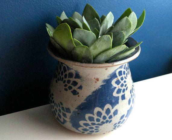 Dark Blue Succulent Desk Planter Cactus Or Flower Pot With Navy Blue Flower Decoration Small In Ceramic Flower Pots Blue Succulents Indoor Ceramic Planters