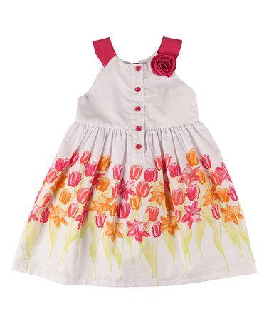9e319973563 Look what I found on  zulily! Pink   White Daisy Yoke Dress ...