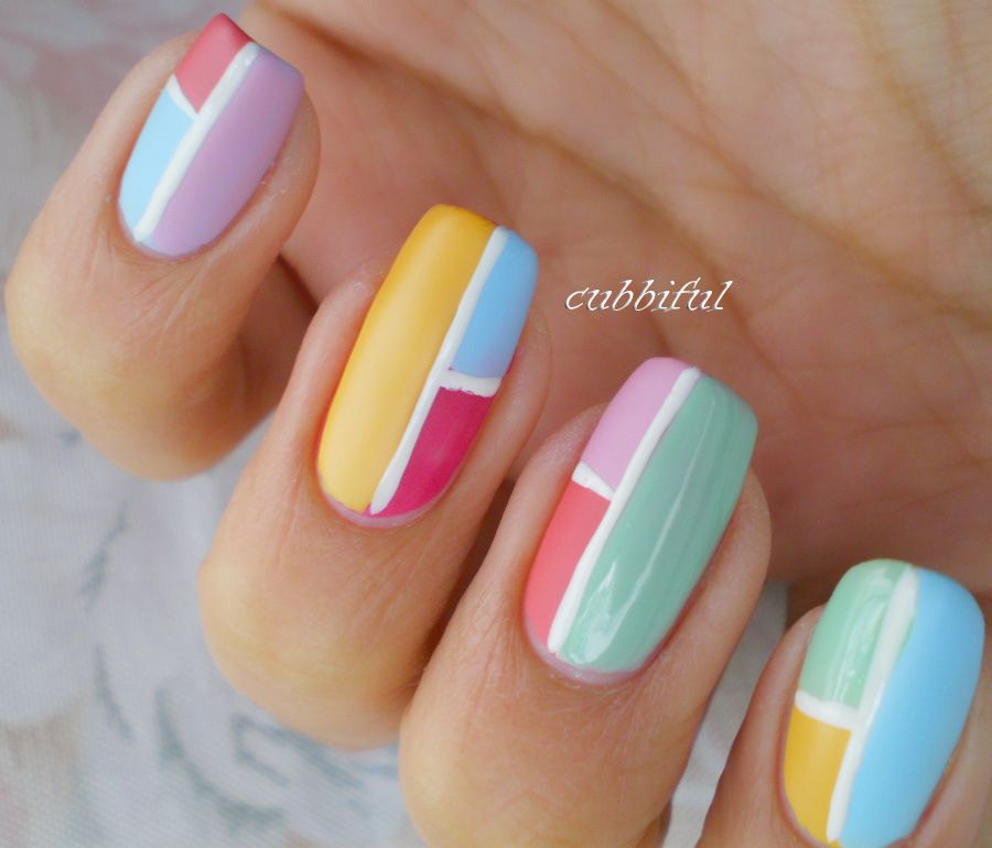 Nail Art for Short Nails | ... -multicolored-nail-art-design-easy ...