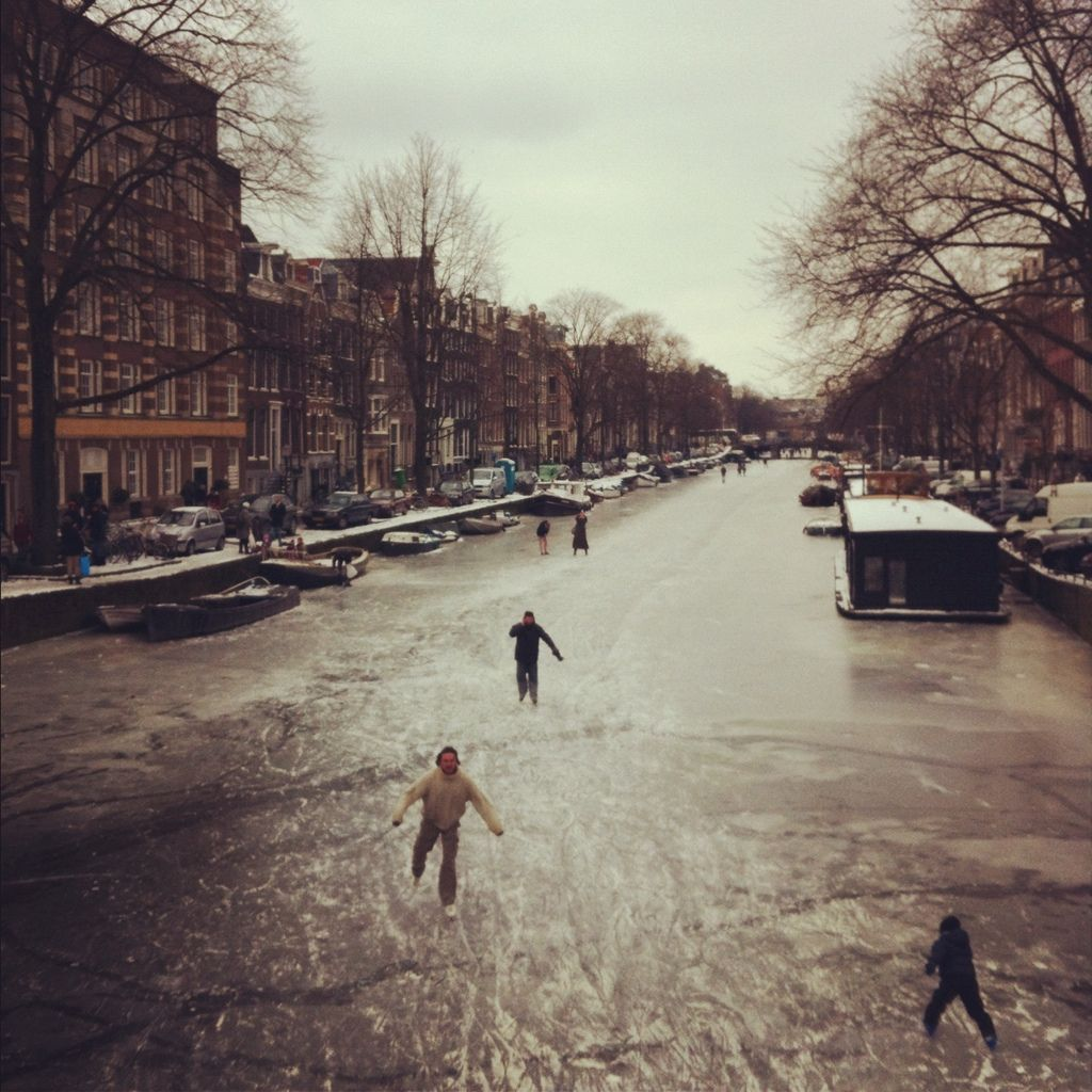 Ice skating on a frozen Amsterdam canal