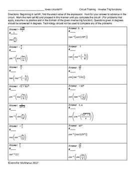 Circuit Training Inverses Of Trig Functions And Solving