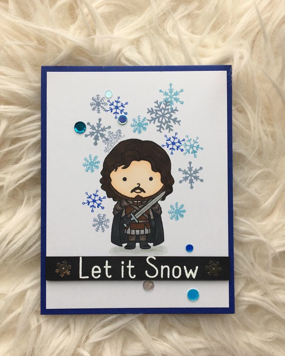 Handmade Game of Thrones  Inspired Christmas Card Let it Snow