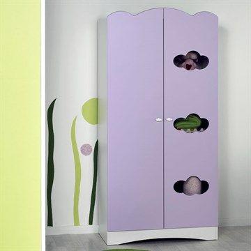 Armoire bébé altéa parme, violette, nuage en bois à 2 portes de - Peindre Des Portes En Bois