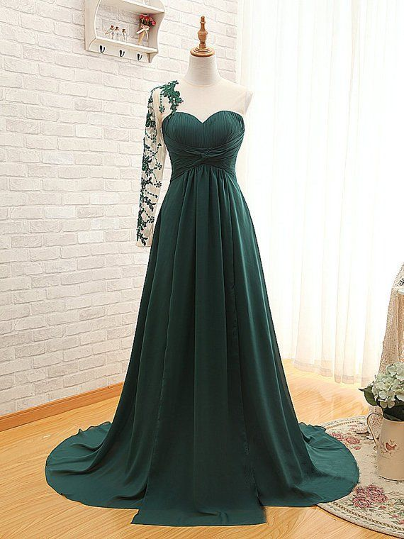 Deep Green Color Dress for Prom Party with Single Sleeve pst0483 ...
