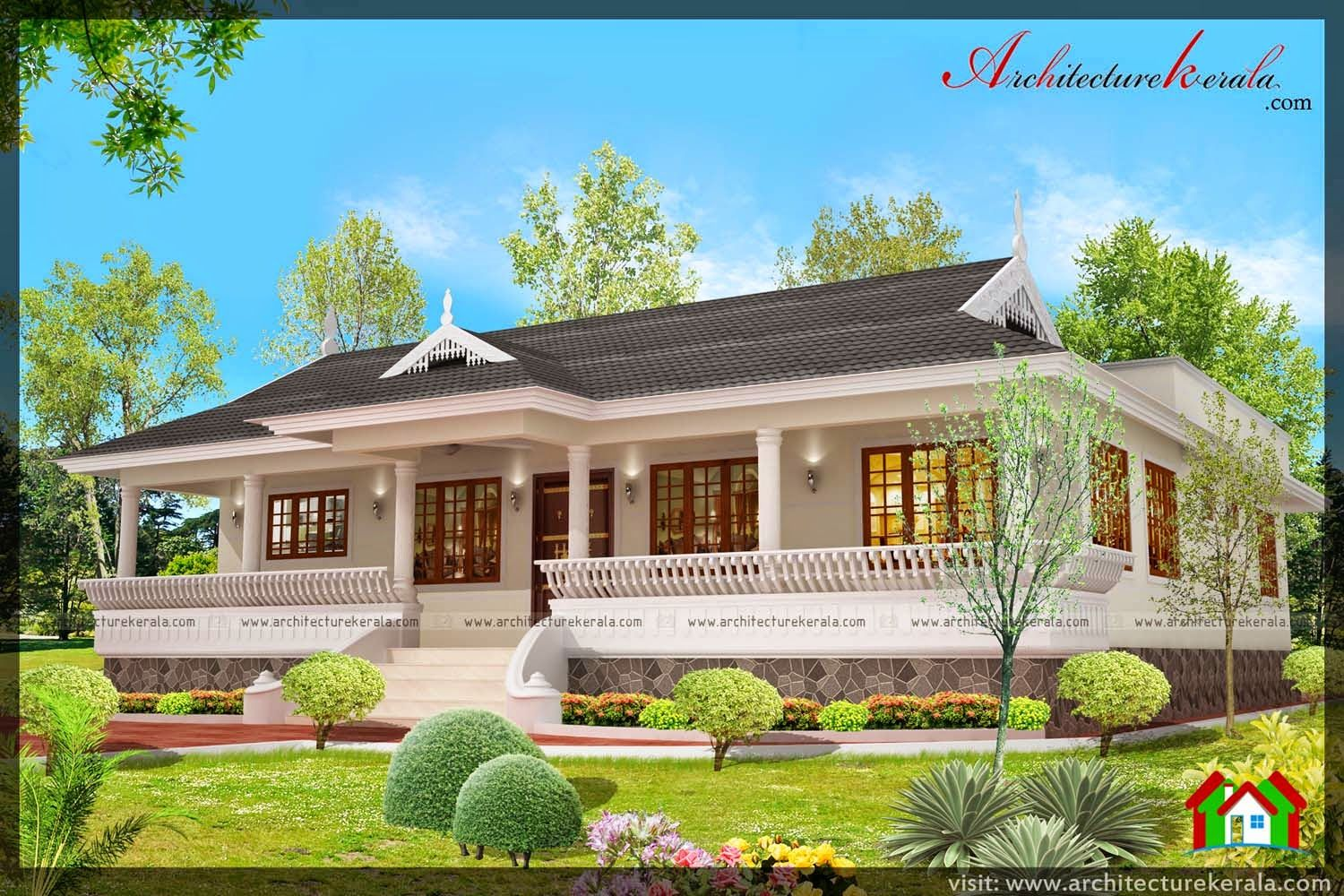 Nalukettu style kerala house with nadumuttam for Low cost kerala veedu plans
