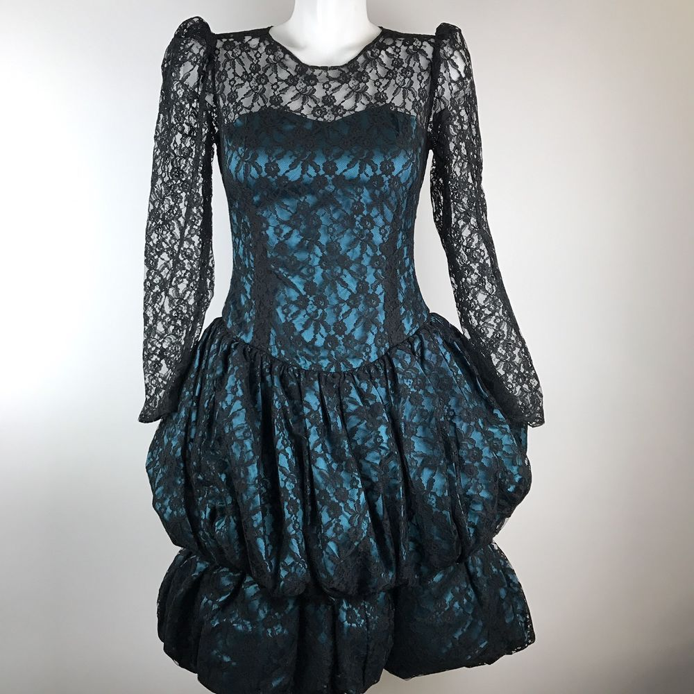 Vintage s prom dress teal black lace party puffy tiered skirt long