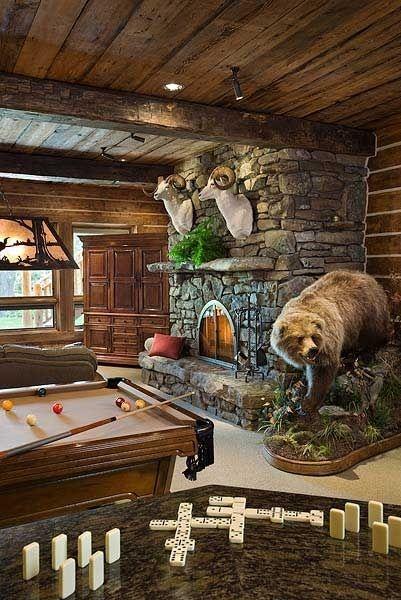 Rustic Living Rec Room By Mandi Log