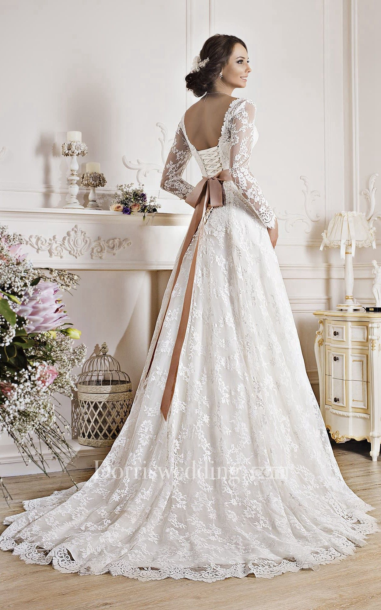 A Line Floor Length V Neck Illusion Sleeve Corset Back Lace Dress With Appliques And Bow Wedding Dresses Corset Bow Wedding Dress Lace Beach Wedding Dress