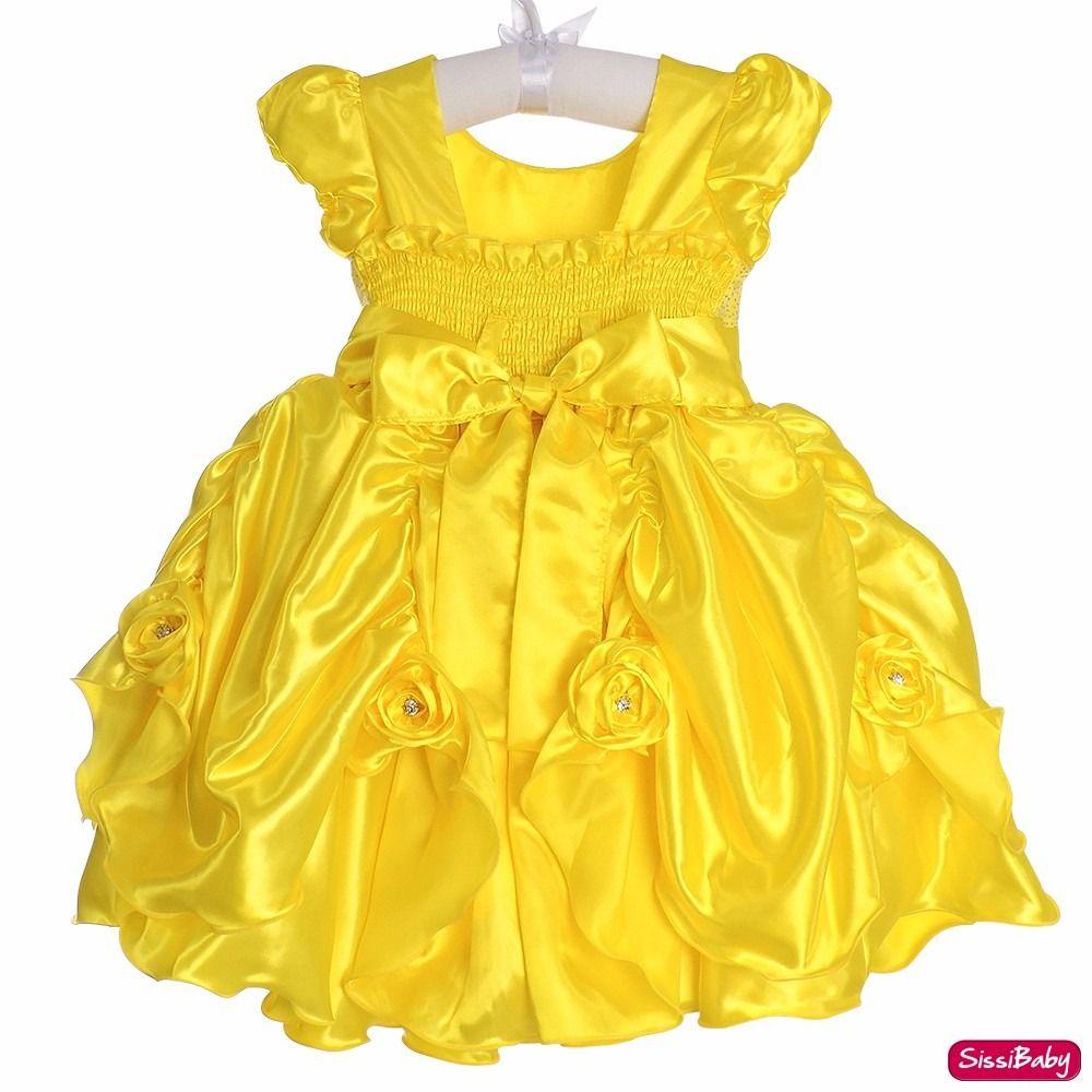 Vestido Bela E A Fera Luxo Festa Infantil Com Tiara 1 Ao 3 - R  129 ... 62c54de3962