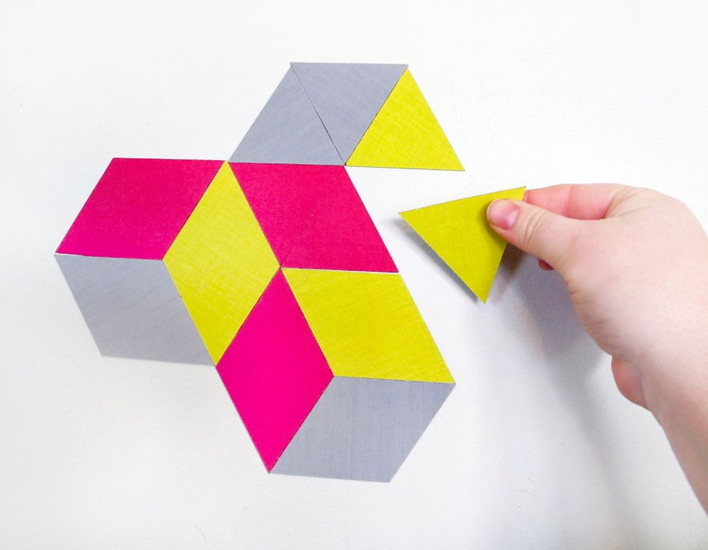 geoscape magnetic wall art - hot pink, yellow, grey OR custom made ...