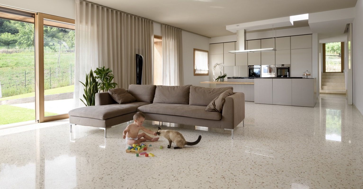 Polished terrazzo floors for modern living room para for Decoracion piso terrazo