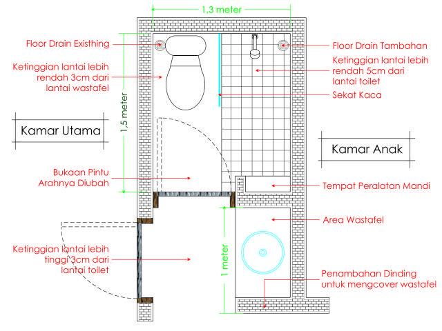 Menyiasati Kamar Mandi Mungil 1 5m X 1 3m Kamar Mandi Minimalis Tata Letak Kamar Mandi Kamar Mandi Minimalist bathroom design 1x1 desain