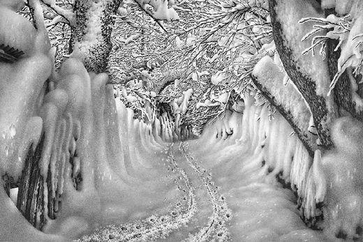 incredible pencil drawing winter scene by guram dolenjashvili арт