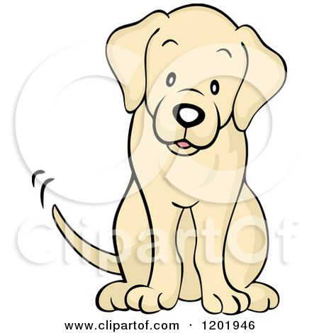 Cartoon Of A Cute Yellow Labrador Dog Sitting And Wagging His Tail