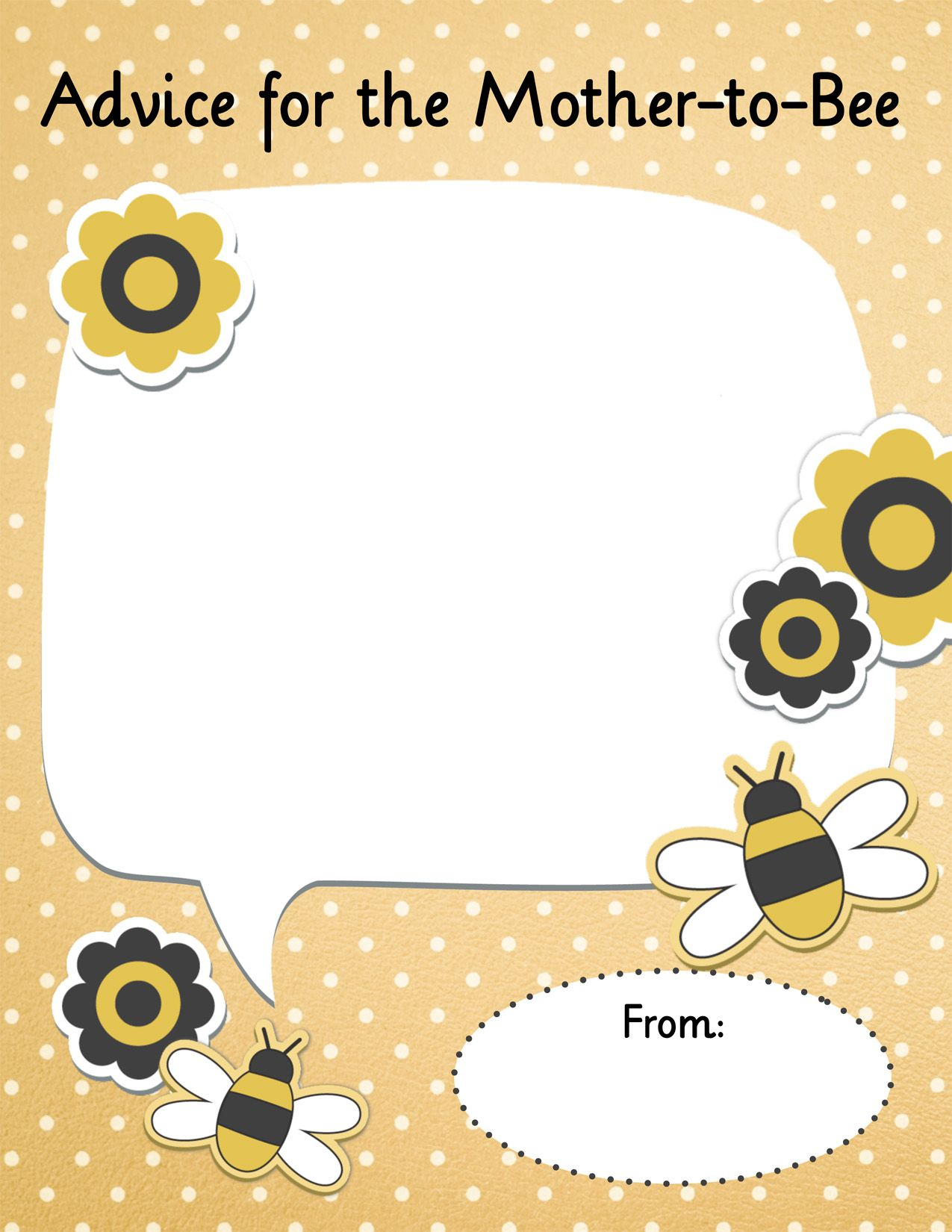 Advice For The Mother To Bee Free Printable Card For Baby Showers