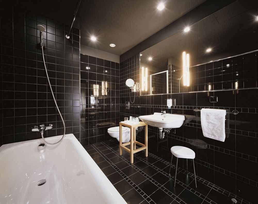 black bathroom ideas terrys fabrics blog floor tile slate