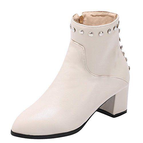Women's Fashion Zipper Pointed Toe Chunky High Heel Short Boots