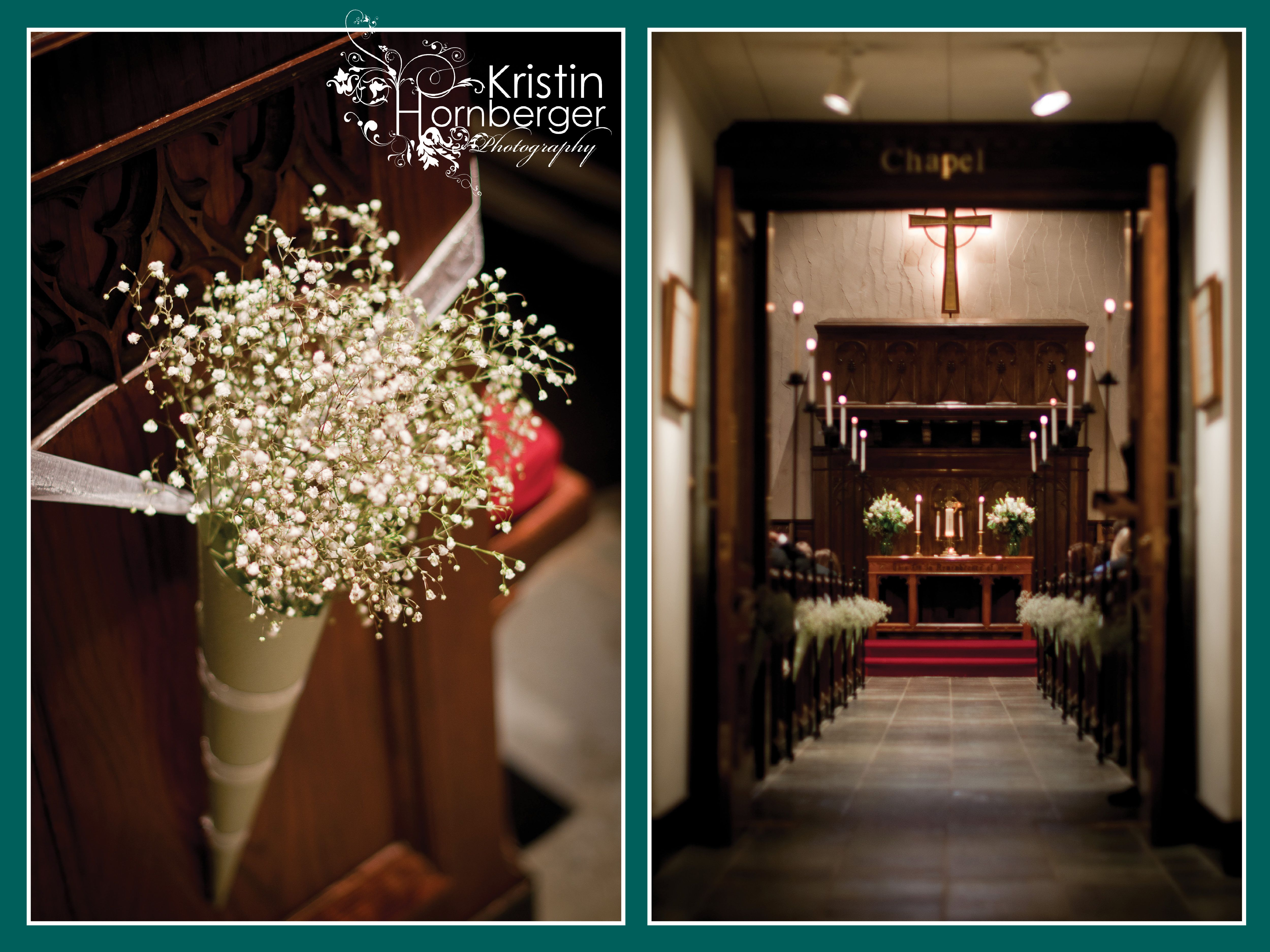 All white church wedding decor Jessica  Kaveh Loved the babyus breath in the cones down the aisle