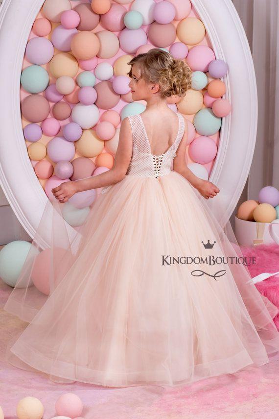 Blush-Vestido de Florista día de fiesta de Dama de honor | vestidos ...