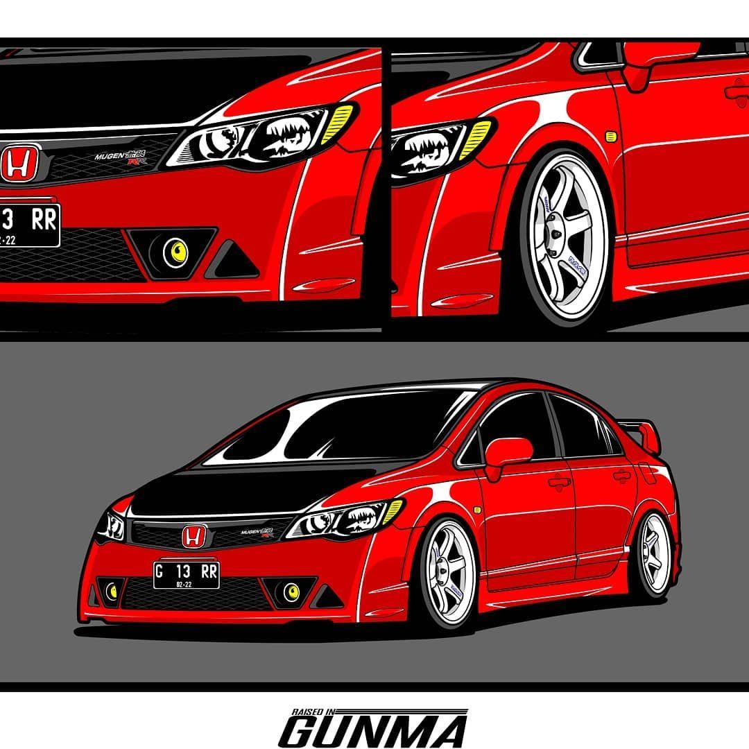 ถ กใจ 409 คน ความค ดเห น 2 รายการ Mahendra Yusuf Mahendraa Yusuf บน Instagram Mugen Rr With Honda Civic Type R Automotive Illustration Car Illustration