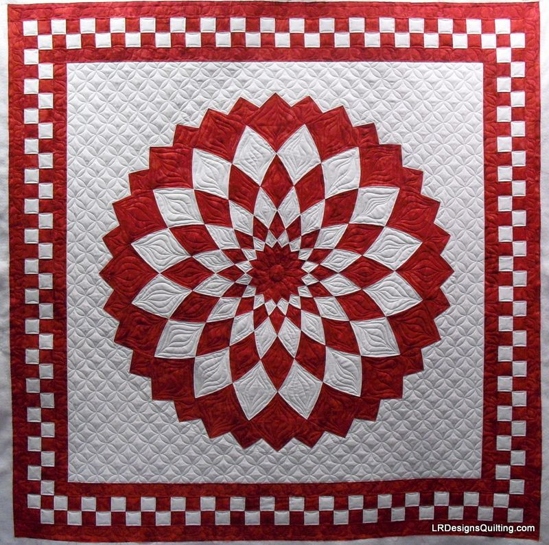 Red and White Giant Dahlia quilt by Janann, quilted by Linda at LR ... : red quilts - Adamdwight.com