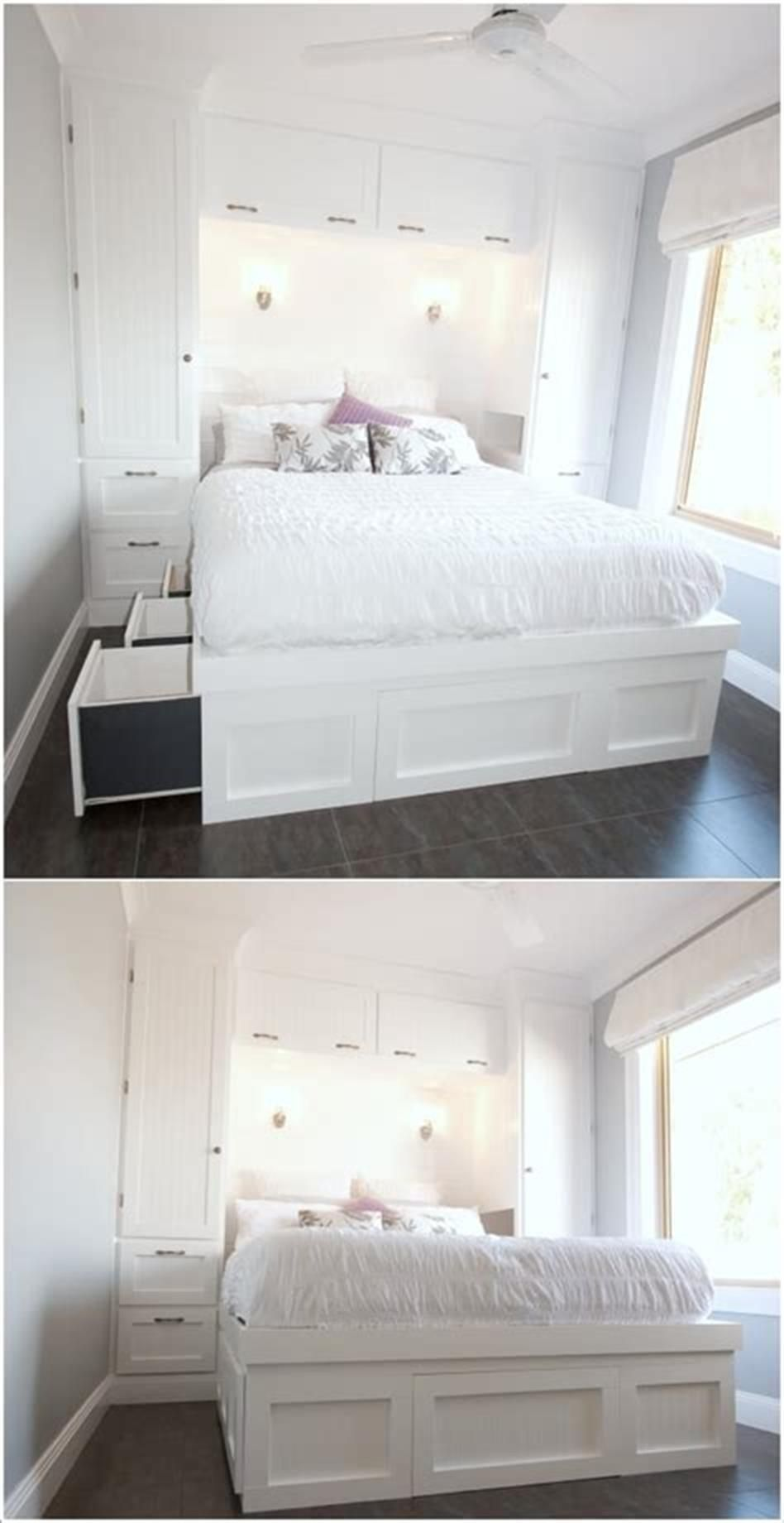 Best 45 Storage Ideas For Small Bedrooms On A Budget Comedecor Small Room Design Tiny Bedroom Small Bedroom