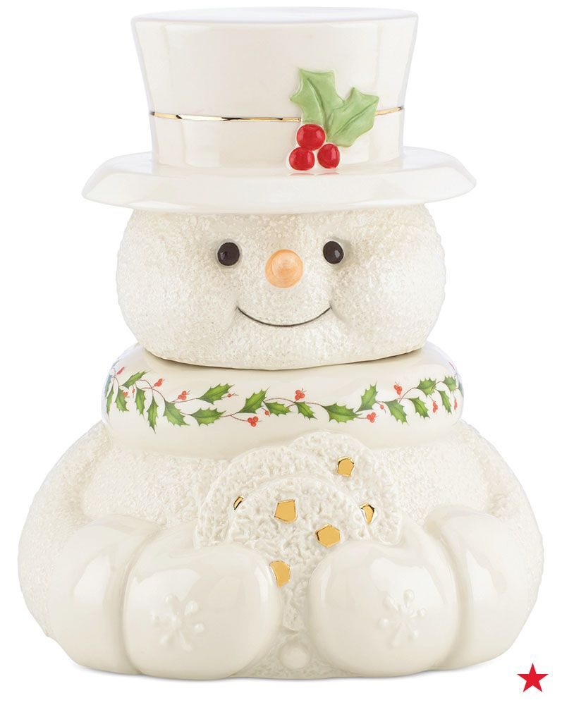 Santa's not the only one who loves cookies during the holidays! Add some festive charm to snack time with Lenox's cute snowman cookie jar