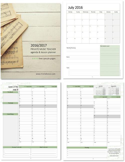 2016 Private Music Teacher Agenda \ Planner {Summer Edition} FREE - sample agenda calendar
