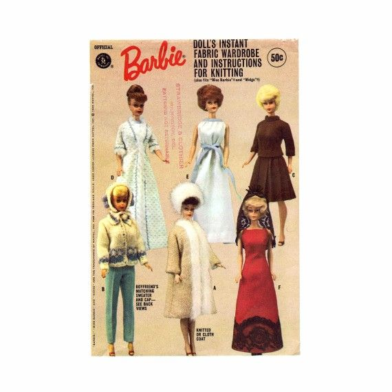 1960s Barbie Doll Wardrobe Doll Clothes McCalls 7840 Vintage Sewing ...