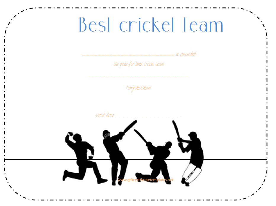 Best Cricket Team Award Certificate Template Award Certificate