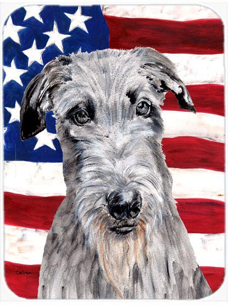 Scottish Deerhound with American Flag USA Mouse Pad - Hot Pad or Trivet SC9634MP #artwork #artworks