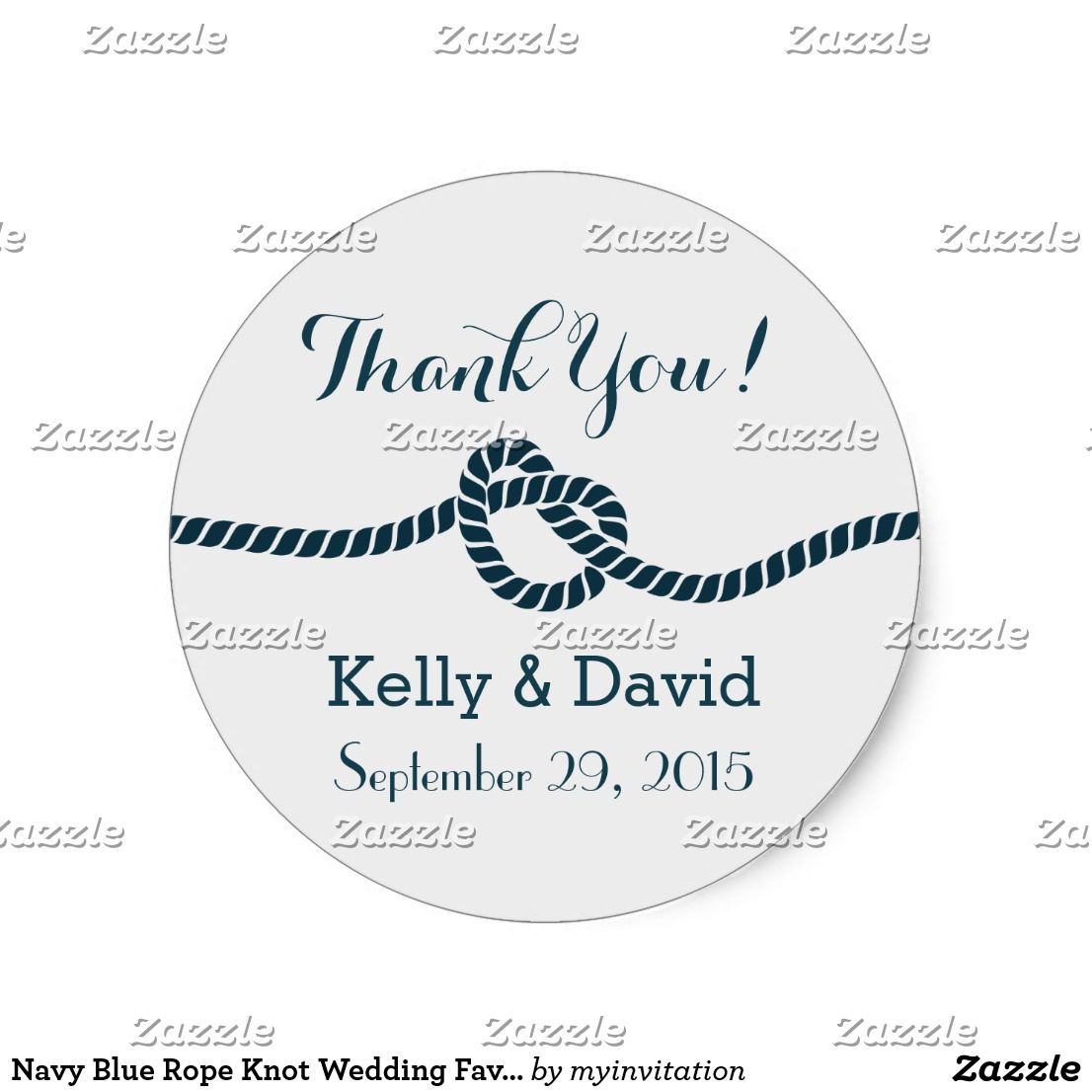Navy Blue Rope Knot Wedding Favor Stickers | Favors, Wedding and ...