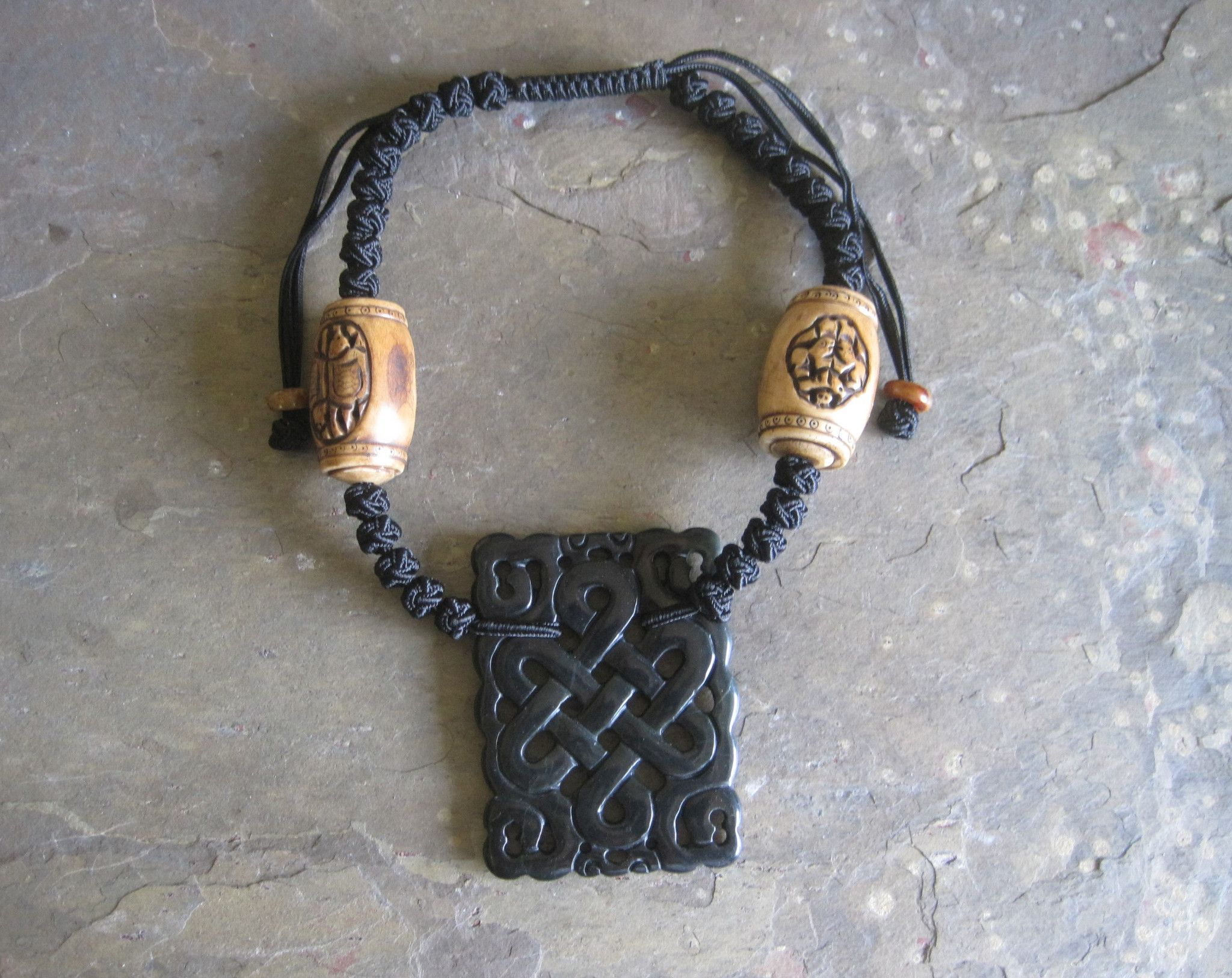 Cow bone with carved black jade ruyi pendant necklace pendants and