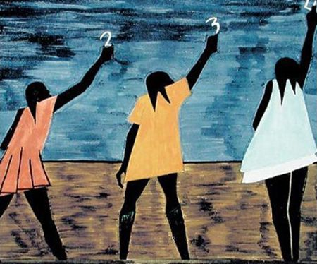 """Jacob Lawrence (September 7, 1917 – June 9, 2000) was an American painter; he was married to fellow artist Gwendolyn Knight. Lawrence referred to his style as """"dynamic cubism"""", though by his own account the primary influence was not so much French art as the shapes and colors of Harlem.[1] Lawrence is among the best-known 20th century African American painters, a distinction shared with Romare Bearden"""