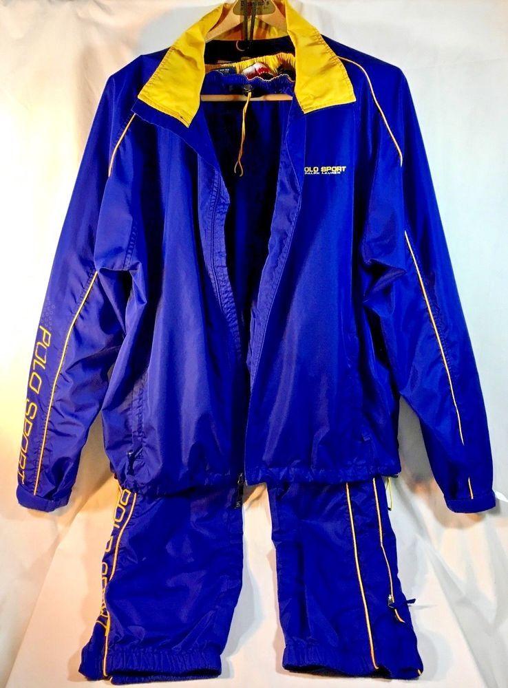 7e41c3be19796a Ralph Lauren Mens POLO SPORT Track Suit 90's Blue/Yellow Jacket Sz XXL Pants  L #PoloRalphLauren #TracksuitsSweats