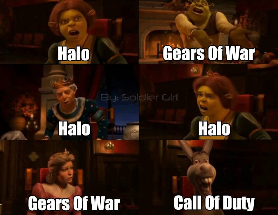Halo Gears Of War And Call Of Duty Funny Memes Funny Gaming Memes Video Game Memes