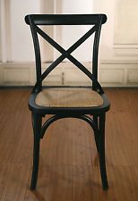 EX DISPLAY French Provincial Birch Dining Chairs Antique Black Cross Back  Chairs