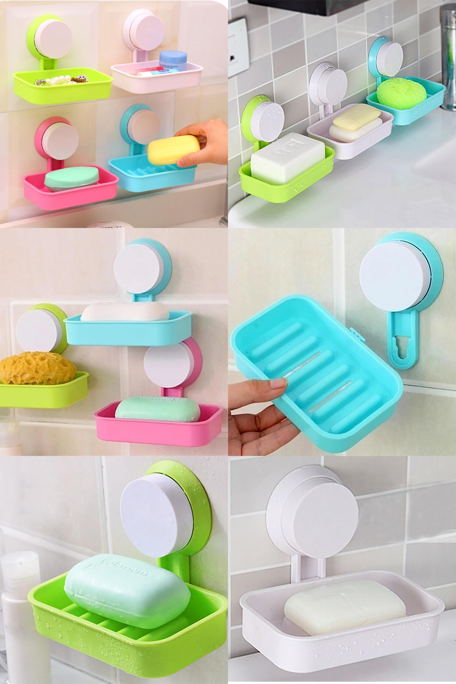 Visit to Buy] New Soap Dish Strong Suction Cup Wall Tray Holder Soap ...