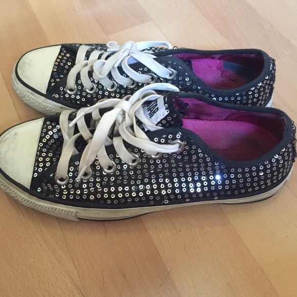 Black sequin converse shoes Pre loved black sequin converse size 5 men's or size 7 women's. Good condition some scuffs as shown. Converse Shoes Sneakers