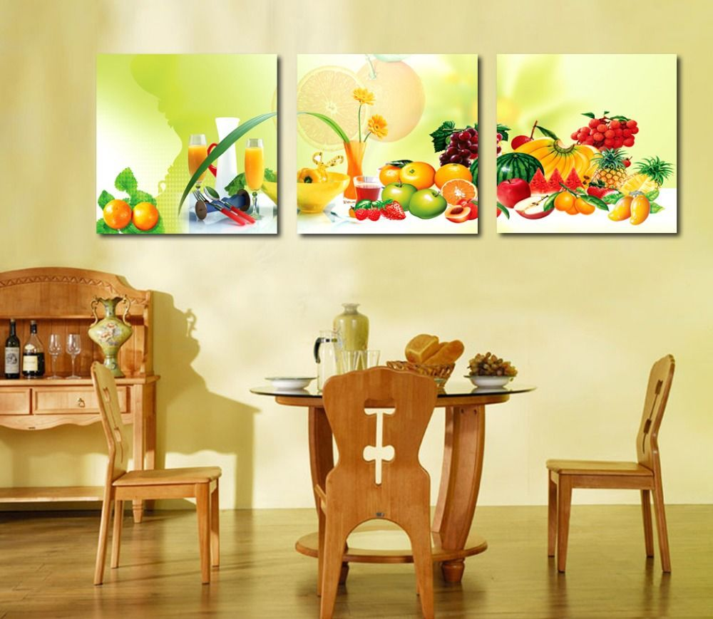 Free Shipping 3 Piece Canvas Art Home Decoration Wall Art Painting Fruit Wall Painting For Dini Fruit Wall Art Dining Room Art Painting Dining Room Wall Art