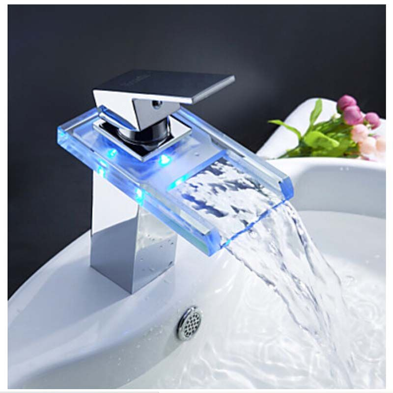 Polished Chrome LED Faucet Waterfall Spout //Price: $78.00 & FREE ...