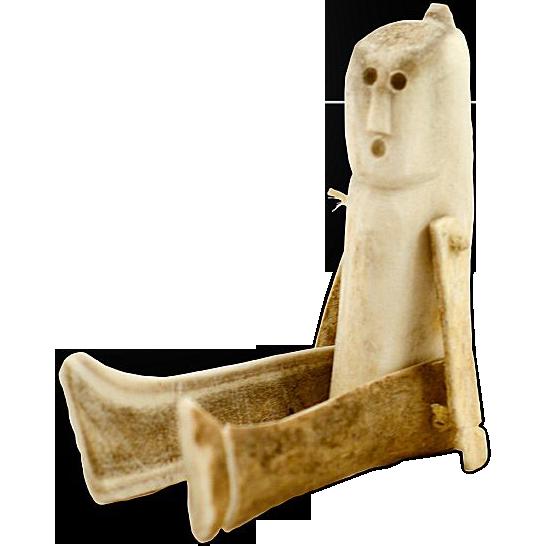 Antique Primitive Inuit Carved Caribou Antler Human Figure Doll Human Figure Doll Inuit Inuit Art