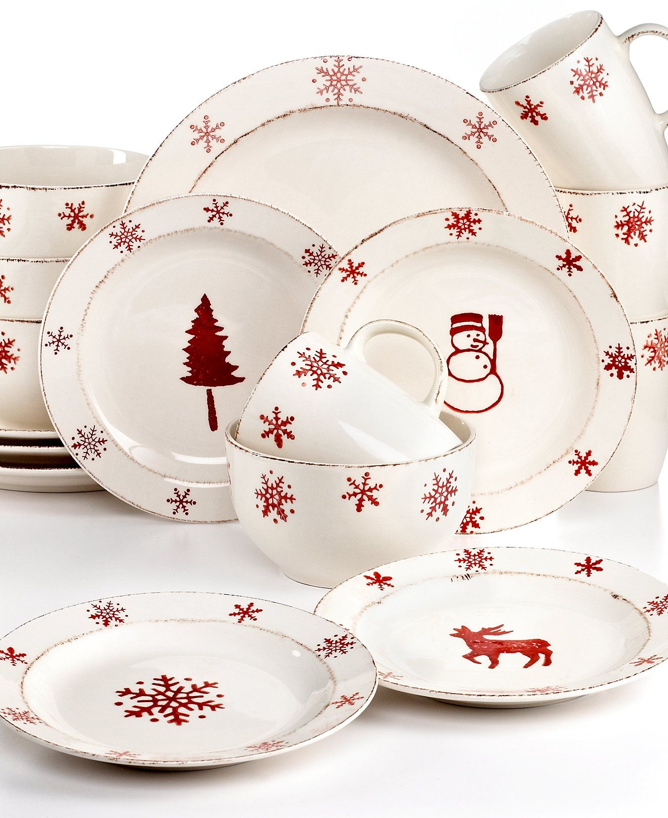 Euroceramica Birchwood Holiday 16 Piece Set Holiday Dining Sale Dining Entertaining Christmas Dinnerware Christmas Tableware Christmas Dinnerware Sets