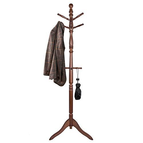 Vlush Free Standing Coat Rack Wooden Coat Hat Tree Coat Hanger In 2020 Free Standing Coat Rack Coat Hanger Wooden Coat Hangers