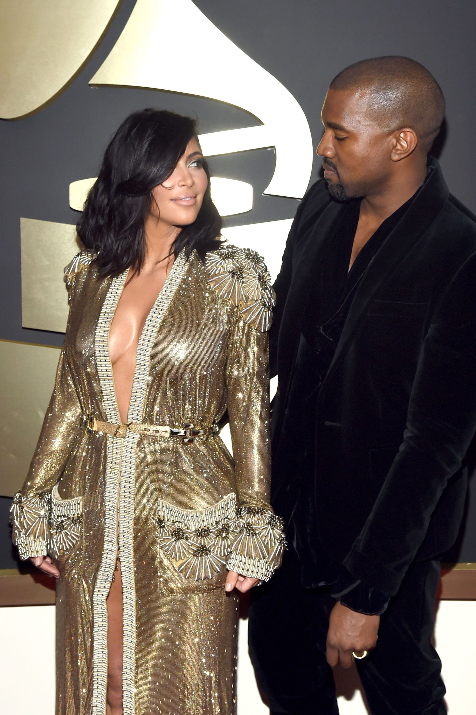 10 Times Kim Kardashian And Kanye West Were Adorably In Love At The Grammys Kim Kardashian And Kanye Kim And Kanye Kim Kardashian