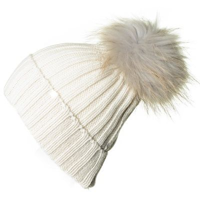 Fox Fur Cashmere Pom Pom Hat Grey And Cream