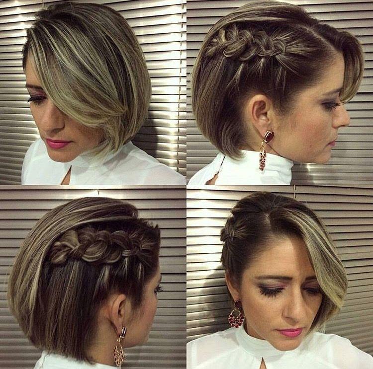 Pin De Roxinia Cubillo En Hair Makeup Trenzas Para Cabello Corto Trenzas En Pelo Corto Peinado De Fiesta Cabello Corto