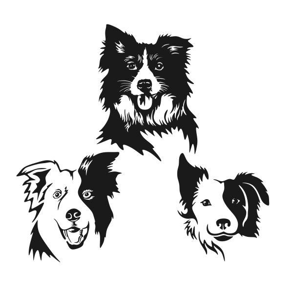 Border Collie Cuttable Design Dog Tattoos Dog Silhouette Dog Stencil